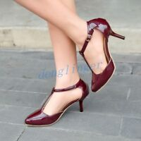 Womens T Strap Bar Mary Jane Stiletto Heel Pump Sandal Shoes Patent Leather Size