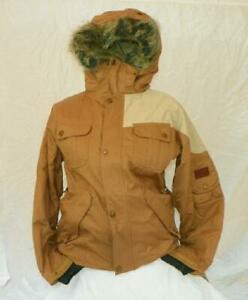 L1TA Rocket Queen Insulated Snow Jacket, Womens Medium, Whisky Brown / Stone New