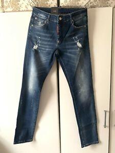 Dsquared2 Men's Jeans Slim Fit Yellow Paint Splatter Distressed Jeans