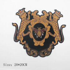 Lion cheetah Beaded Crown Bee Pattern Patch Embroidery Applique Badges Sew on