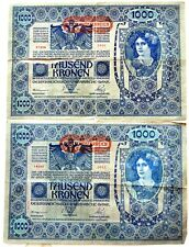 2 banconote Austria Ungheria 1902 impero austro ungarico 1000 tausend KRONEN