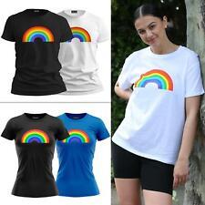 Womens Rainbow Print Pullover Cotton Short Sleeve Casual Wear Summer Top T-Shirt