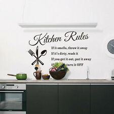 Removable Kitchen Rules Quote Wall Stickers Home Decor DIY Vinyl Art Mural Decal