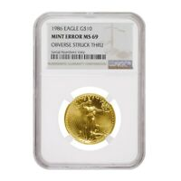 1986 1/4 oz $10 Gold American Eagle NGC MS 69 Mint Error (Obv Struck Thru)