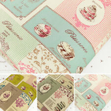 "100% Cotton Fabric FQ ""Linen Look"" French Macaron Dessert Cake Floral Stripe VM2"