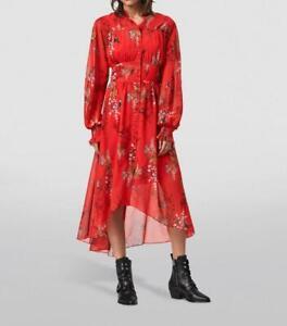 All Saints Leonie Melisma Flowing Dress in Red Size 8 BNWT £229