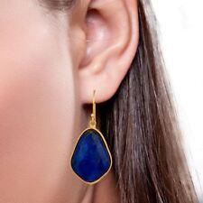 Lapis Gemstone 925 Silver 18K Gold Plated Handmade Bezel Set Earrings