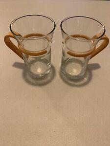 Inspiration Cappuccino Espresso Coffee Mugs  Glass w/Yellow Plastic Handle