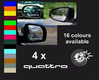 QUATTRO AUDI x 4  LOGO MIRROR DECALS STICKERS GRAPHICS Van Sport Fun