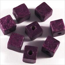 Lot de 40 Perles Cubes en Bois 8mm Améthyste