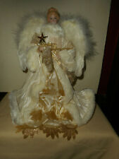 "Beautiful Vintage Angel Tree Topper 12"" White Feathers & Robe Gold Glitter Lace"