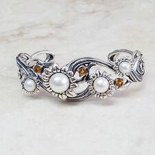 Carolyn Pollack Cultured Pearl Citrine Sterling Silver Flower Cuff QVC $349