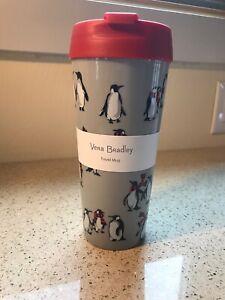 Vera Bradley NWT - Travel Mug - Playful Penguins Gray
