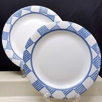 "Pfaltzgraff Hopscotch Salad Plates 8"" Set of 2 White Blue Checks No Fruit"