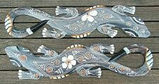 2 x Wooden Gecko ornament 50cm Hand carved dot painted Wall hanging decoration