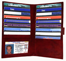 Genuine Leather Men Lady 19 Slots Credit Card Holder Check Wallet ID Strap Red