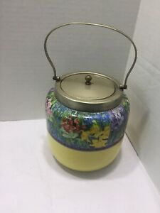 Antique Porcelain Silverplate English Biscuit Cookie Barrel Jar Burslem Pottery