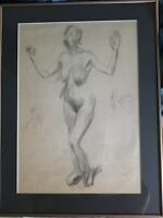 Raphael Soyer, Nude Study, Pencil Drawing with a Double Signature