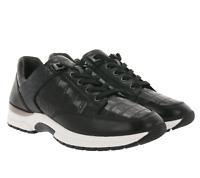 CAPRICE Low Top Sneaker bequeme Damen Echtleder-Schuhe im Croco-Stil Schwarz