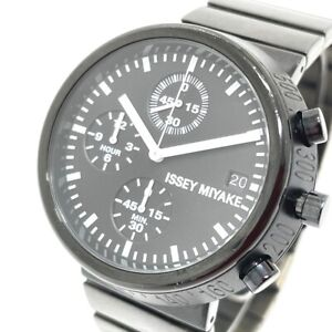 ISSEY MIYAKE VD67-0010 Date Chronograph Quartz Wristwatch SS Black