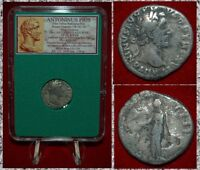 Ancient Roman Empire Coin ANTONINUS PIUS Annona On Reverse Silver Denarius