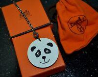 AUTHENTIC HERMES PANDA LEATHER KEY CHAIN KEY RING HAND BAG CHARM - NEW & UNUSED