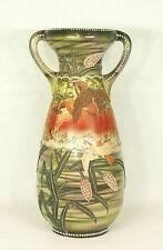 """Antique Moriage Japanese Ceramic Nippon Birds Vase 18"""" 46 cm"""