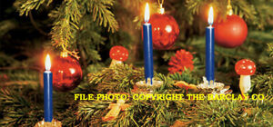 New Gurley Christmas Tree & Chime Candles, Dark Blue, Box of 12