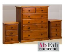 LEURA TALLBOY & TWO BEDSIDE CHESTS SOLID TIMBER CHEST SET IN TEAK