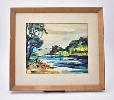 Original George Schwacha Watercolor Painting Landscape with River