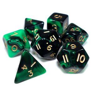 7 Dice Poly Set - OBLIVION Green/Black - D20 D&D Role Play RPG PaintedLegions