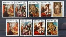NICARAGUA - 1970 - Airmail - Christmas - Paintings - Lot of 9 USED stamps