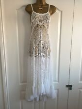 Stunning TopShop White Maxi Crochet Dress/Beach Cover Up Size 8 /10 Holiday