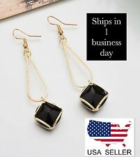 Crystal Geometric Glass Earrings (Black) ~ US Seller ~ BRAND NEW (Quick Ship)