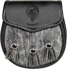 MacKissock Semi Sporran Fur Plain Leather Flap Scottish Clan Crest