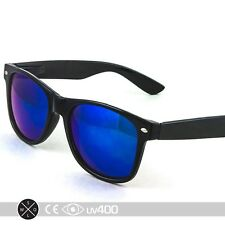Black Mirror Lens Neon Frame Party Sunglasses 80s Super Retro FREE Case S002