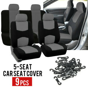 Universal 9Pcs Grey Car Seat Covers Front&Rear 5-Seat Back Head Rest Protector