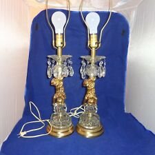 Vintage Pair of Table Lamps with Cherubs & Crystals