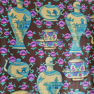 KAFFE FASSETT  DELFT POTS Brown  Free Spirit Fabric  1 Yard