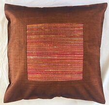 Pair of 'CUBE - Brown' Cushion Covers, 100% Thai Silk