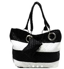 Konektopshop's Leather Casual Shoulder Bag (Black/White)