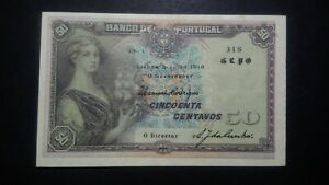 Portugal 50 Centavos 5.7.1918  P.112b  ALMOST UNCIRCULATED