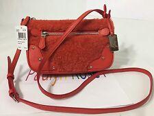 Coach Shearling Pochette 36490 Small Rhyder Crossbody Bag Orange NWT