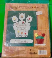 NIP Bucilla 32493 Stitch n Paint 2 Craft Products in 1 FLOWER POT Cross Stitch