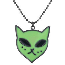 Lux Accessories Black Colored Beaded Green Alien Cat Charm Chain Necklace