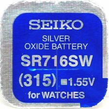 Seiko 315 (sr716sw) SILBER OXIDE (0% Hg) Quecksilber frei Watch Batterie Made in Japan