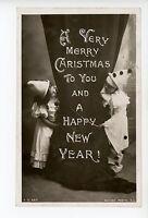 Harlequin Clown Kids RPPC Christmas—New Years Photo Rotograph ca. 1908