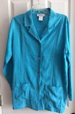 NWOT Susan Graver 3/4 Sleeve Turquoise Button Front Linen Blend Jacket Top Sz M