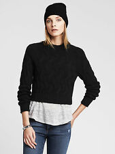 NWT Banana Republic Women's Cable-Knit Cropped Pullover Color Black Size XL