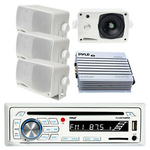 """Pyle Bluetooth Receiver, 4x 3.5"""" Mini Box White Speakers, 4-Channel Amplifier"""